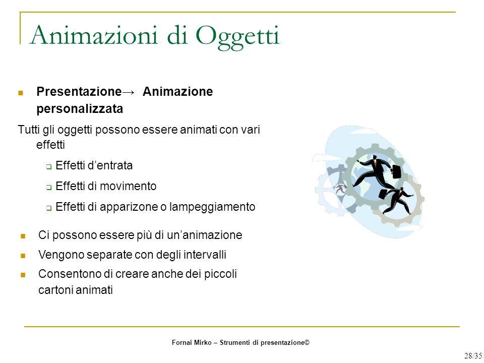 Animazioni di Oggetti Presentazione→ Animazione personalizzata