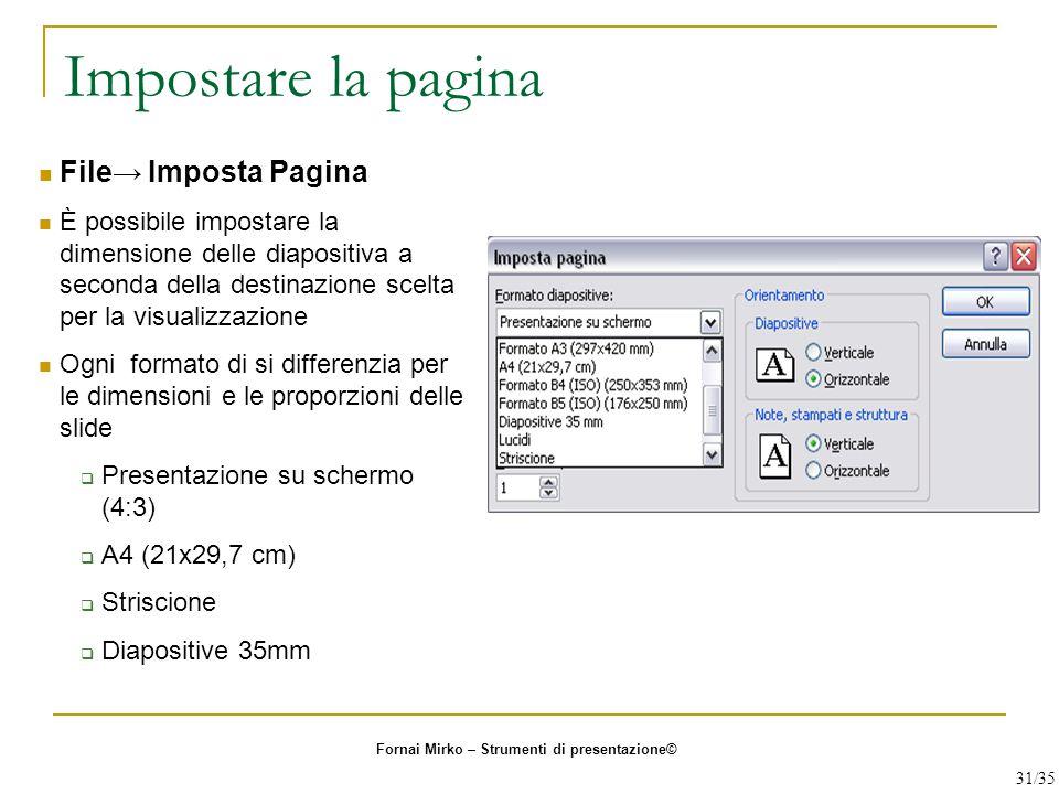 Impostare la pagina File→ Imposta Pagina