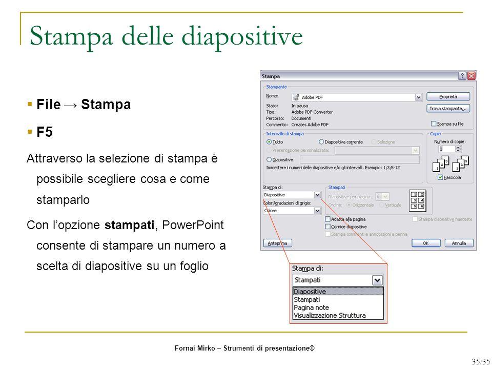 Stampa delle diapositive