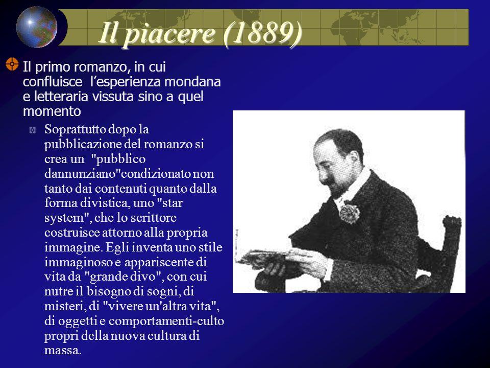 Il piacere (1889) Il primo romanzo, in cui confluisce l'esperienza mondana e letteraria vissuta sino a quel momento.
