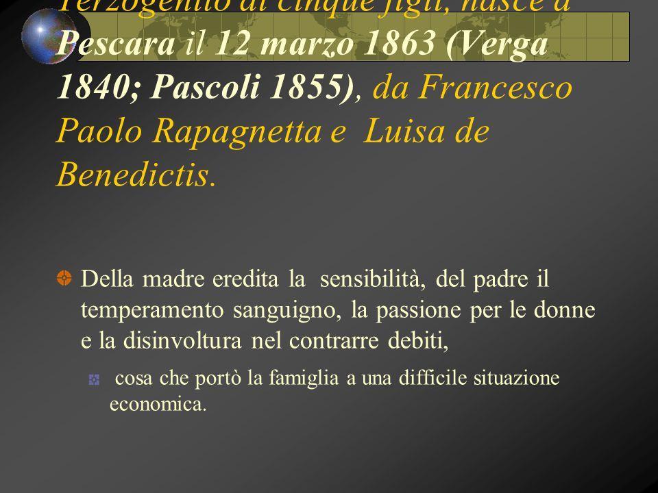 Terzogenito di cinque figli, nasce a Pescara il 12 marzo 1863 (Verga 1840; Pascoli 1855), da Francesco Paolo Rapagnetta e Luisa de Benedictis.