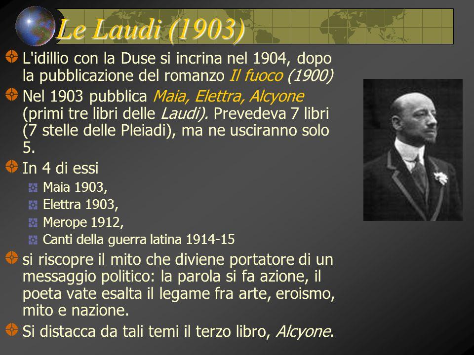 Le Laudi (1903) L idillio con la Duse si incrina nel 1904, dopo la pubblicazione del romanzo Il fuoco (1900)