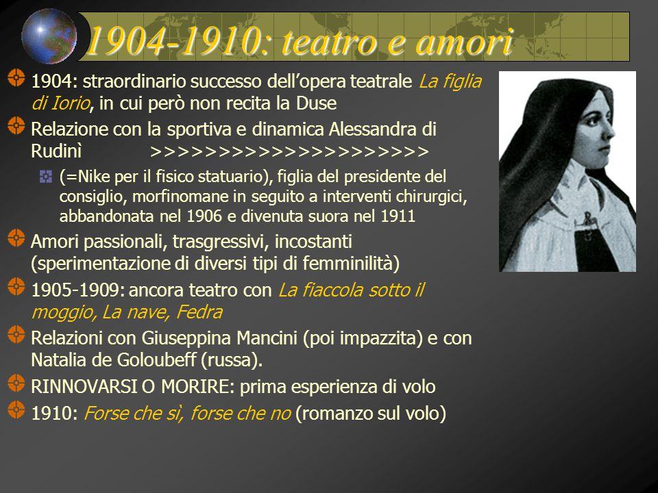 1904-1910: teatro e amori 1904: straordinario successo dell'opera teatrale La figlia di Iorio, in cui però non recita la Duse.