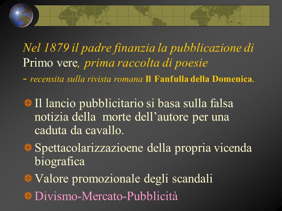Nel 1879 il padre finanzia la pubblicazione di Primo vere, prima raccolta di poesie - recensita sulla rivista romana Il Fanfulla della Domenica.