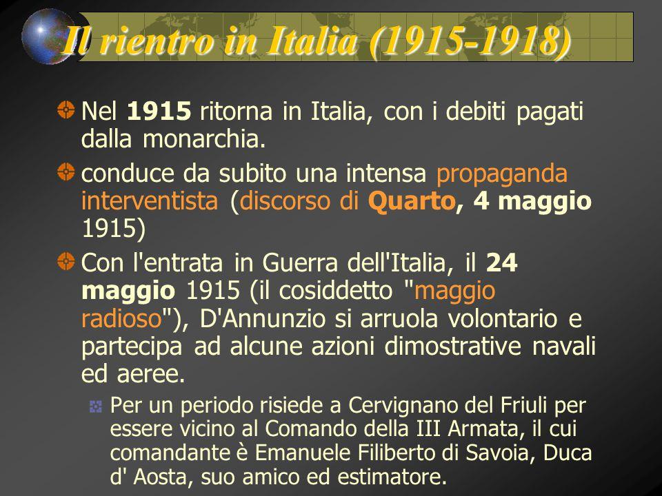 Il rientro in Italia (1915-1918)