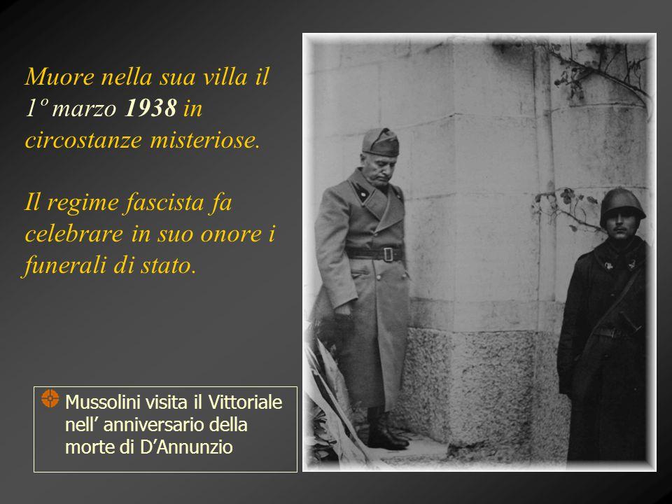 Muore nella sua villa il 1º marzo 1938 in circostanze misteriose