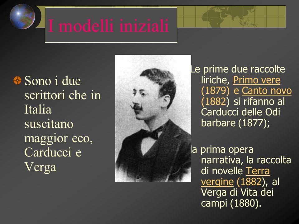 I modelli iniziali Le prime due raccolte liriche, Primo vere (1879) e Canto novo (1882) si rifanno al Carducci delle Odi barbare (1877);