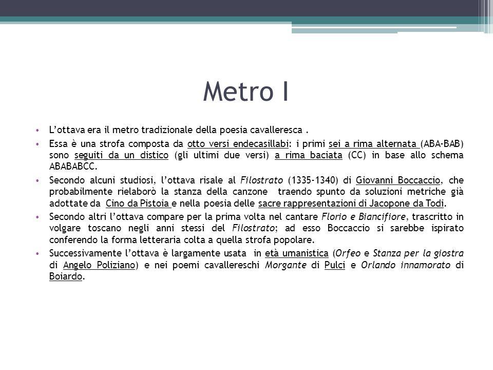 Metro I L'ottava era il metro tradizionale della poesia cavalleresca .