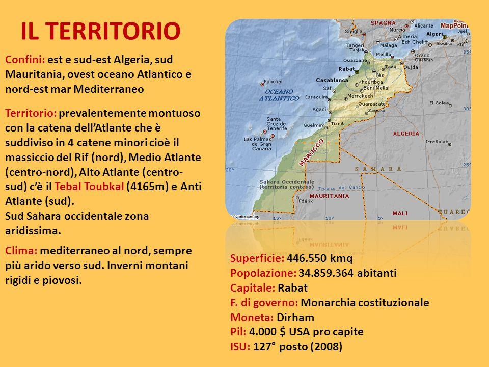 IL TERRITORIO Confini: est e sud-est Algeria, sud Mauritania, ovest oceano Atlantico e nord-est mar Mediterraneo.