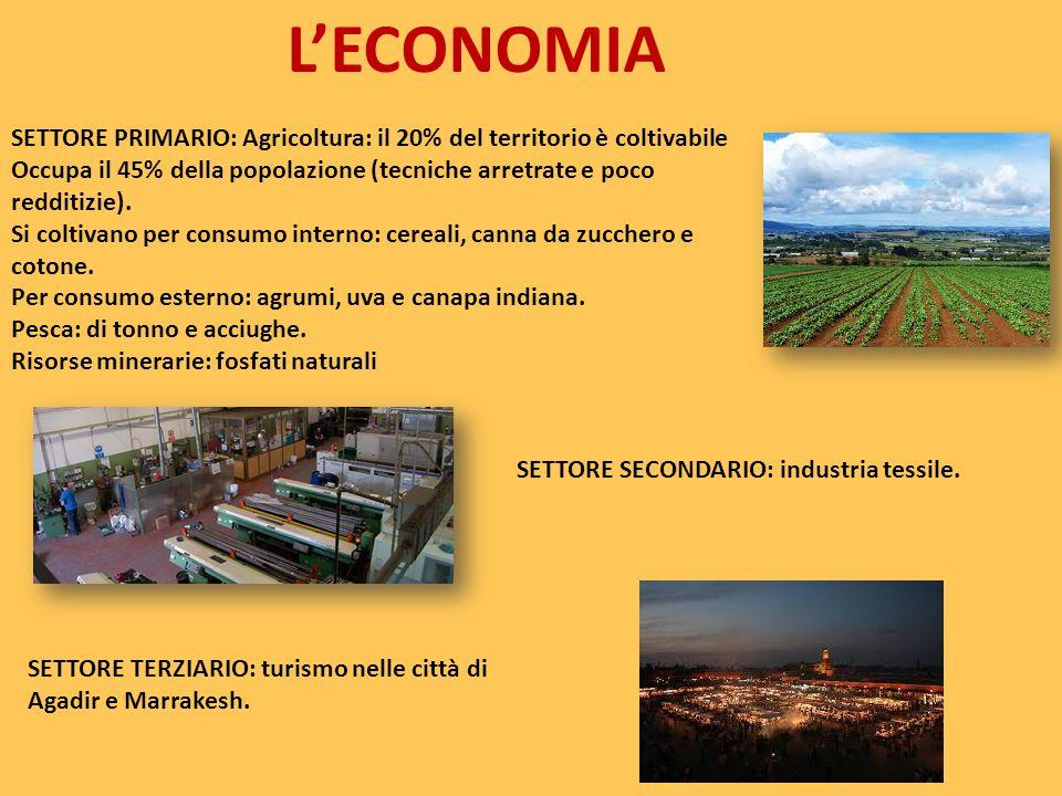 L'ECONOMIA SETTORE PRIMARIO: Agricoltura: il 20% del territorio è coltivabile Occupa il 45% della popolazione (tecniche arretrate e poco redditizie).