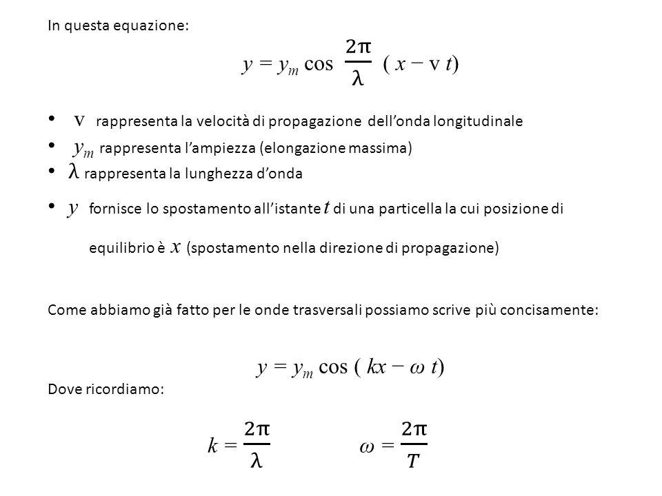 v rappresenta la velocità di propagazione dell'onda longitudinale