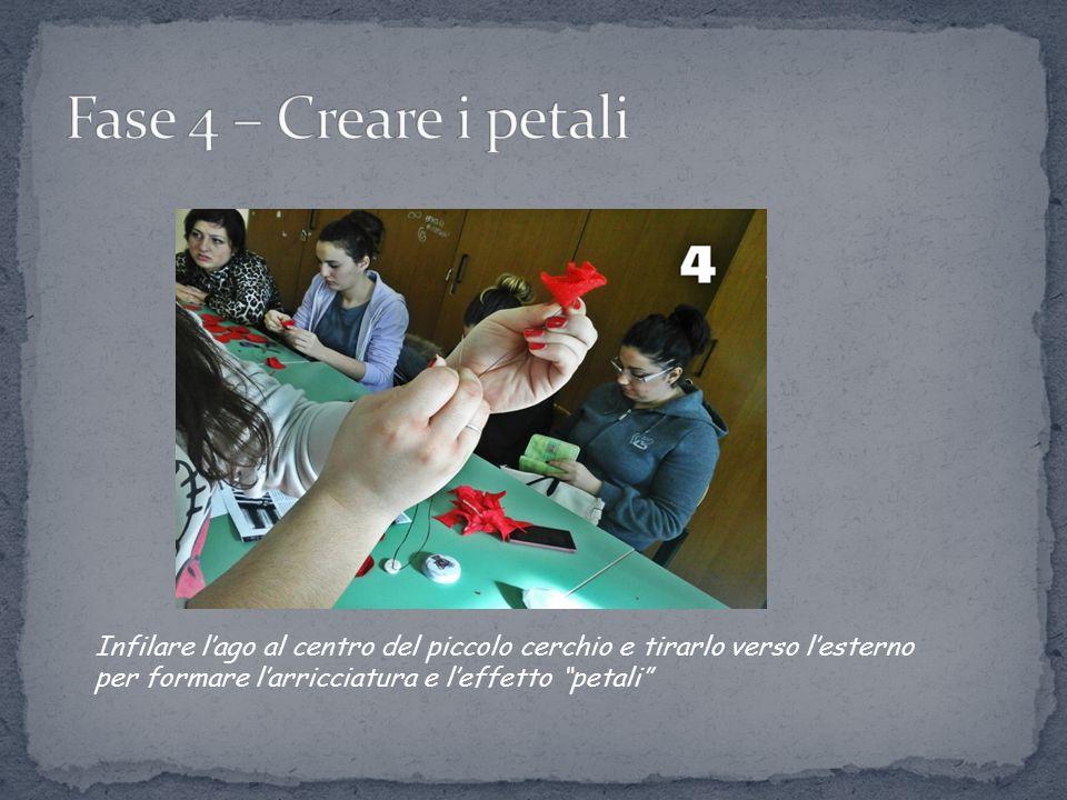 Fase 4 – Creare i petali Infilare l'ago al centro del piccolo cerchio e tirarlo verso l'esterno per formare l'arricciatura e l'effetto petali