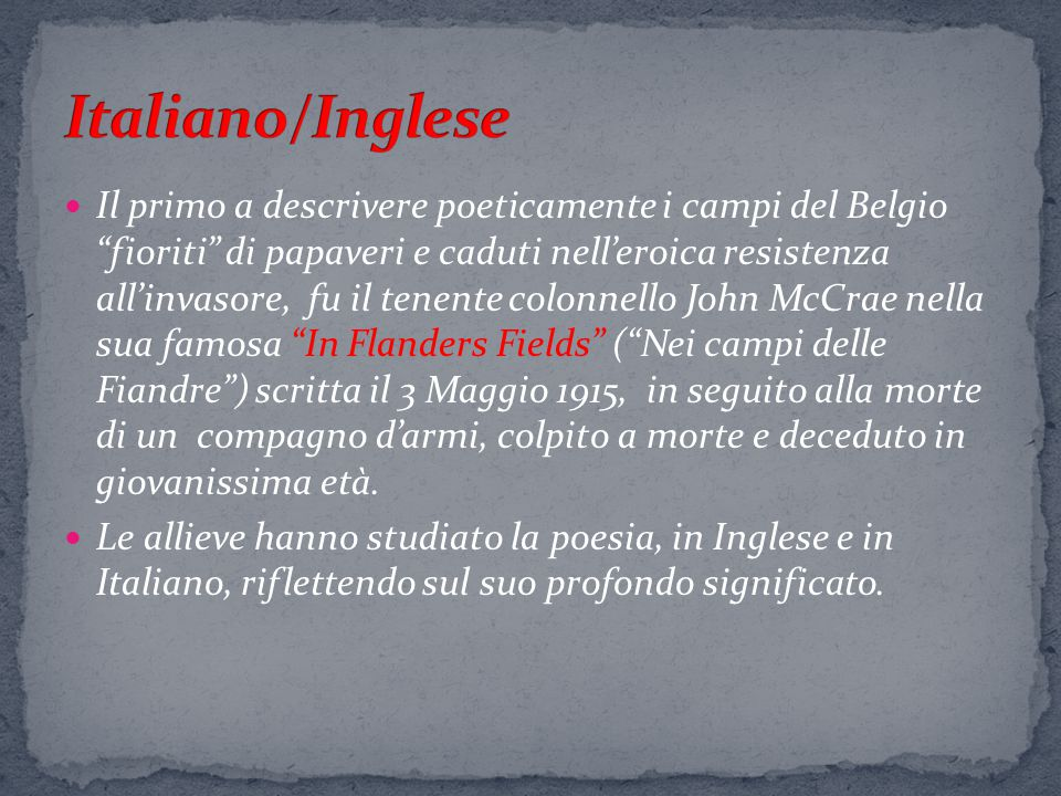 Italiano/Inglese