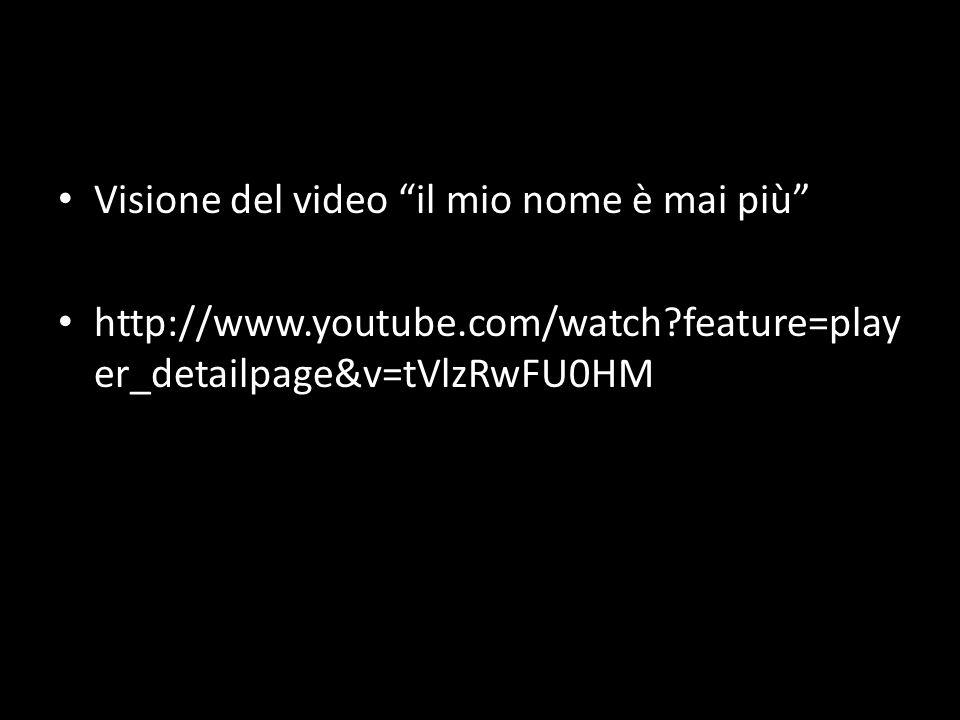 Visione del video il mio nome è mai più