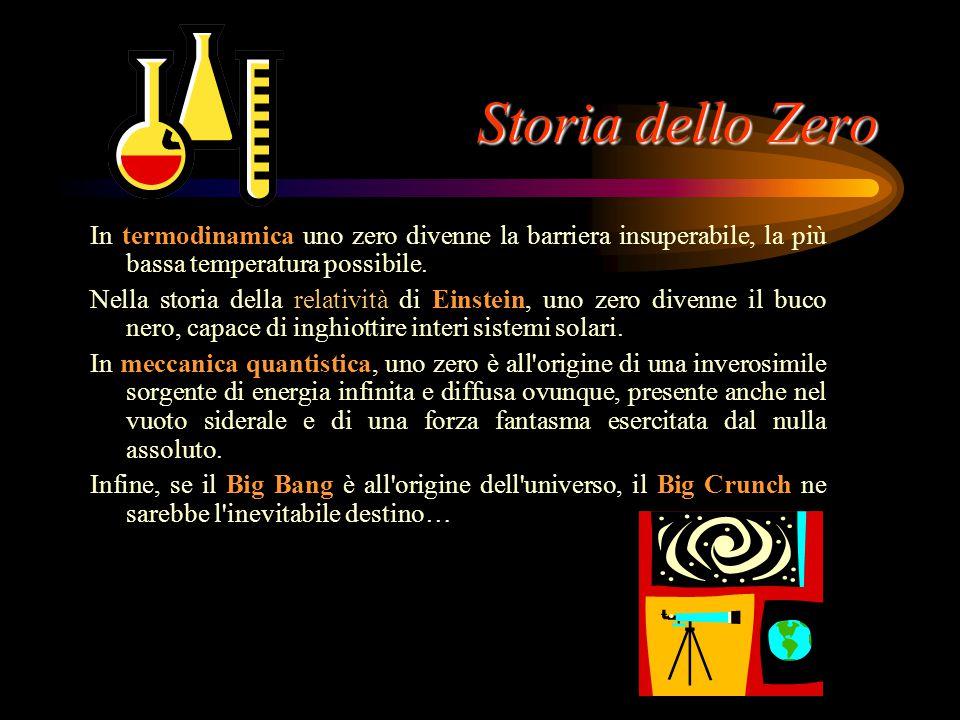 Storia dello Zero In termodinamica uno zero divenne la barriera insuperabile, la più bassa temperatura possibile.