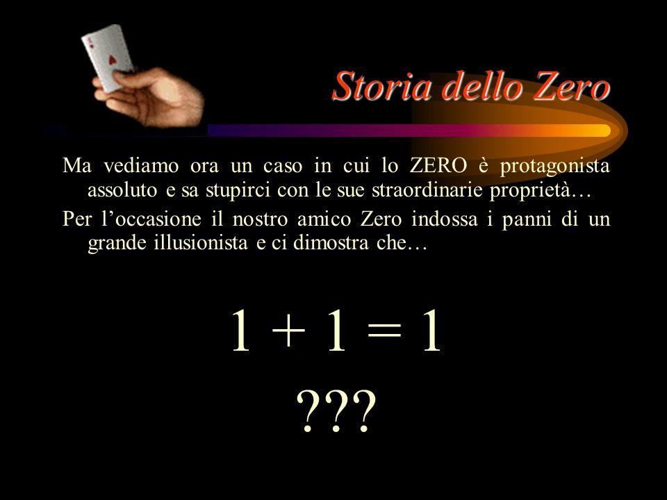 Storia dello Zero Ma vediamo ora un caso in cui lo ZERO è protagonista assoluto e sa stupirci con le sue straordinarie proprietà…