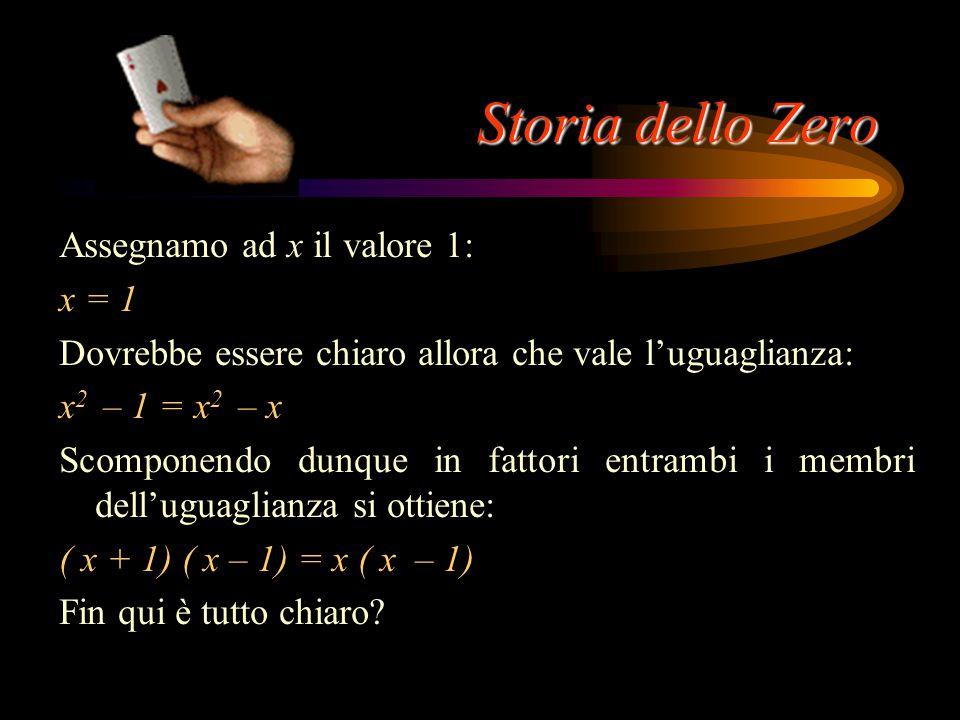 Storia dello Zero Assegnamo ad x il valore 1: x = 1