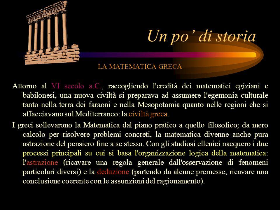 Un po' di storia LA MATEMATICA GRECA.