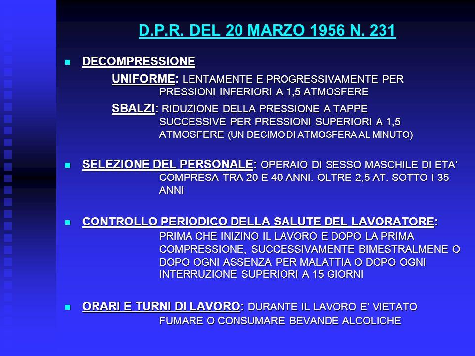 D.P.R. DEL 20 MARZO 1956 N. 231 DECOMPRESSIONE