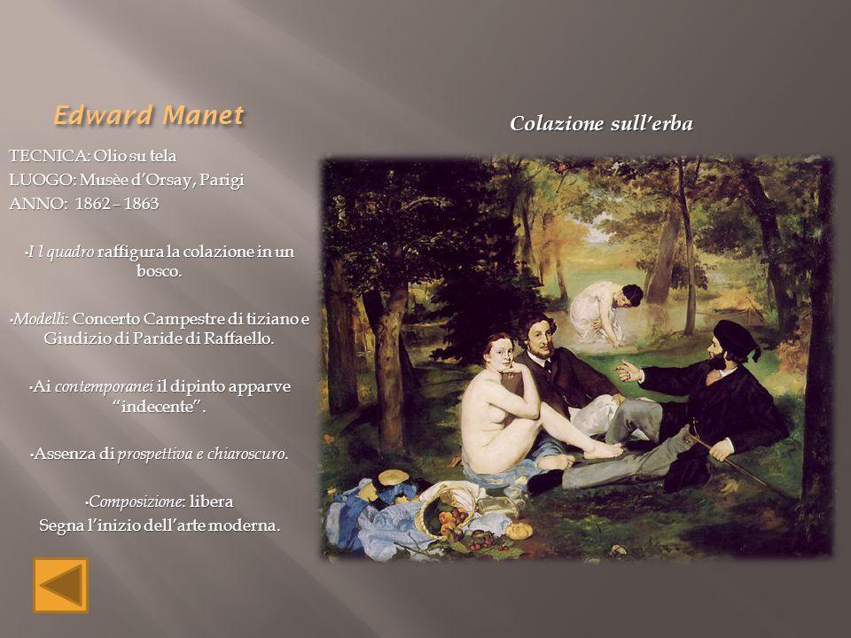 Edward Manet Colazione sull'erba TECNICA: Olio su tela