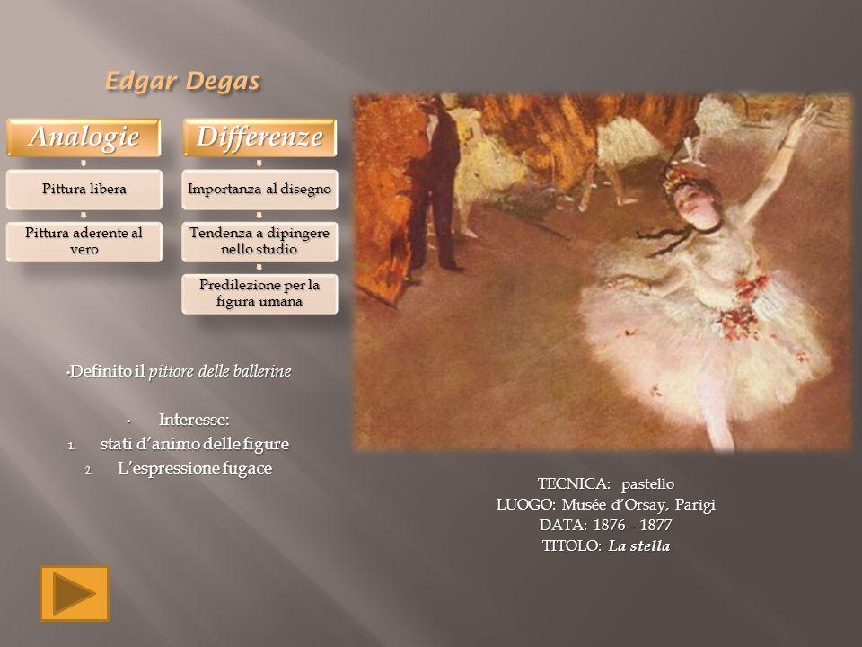 Edgar Degas Definito il pittore delle ballerine Interesse: