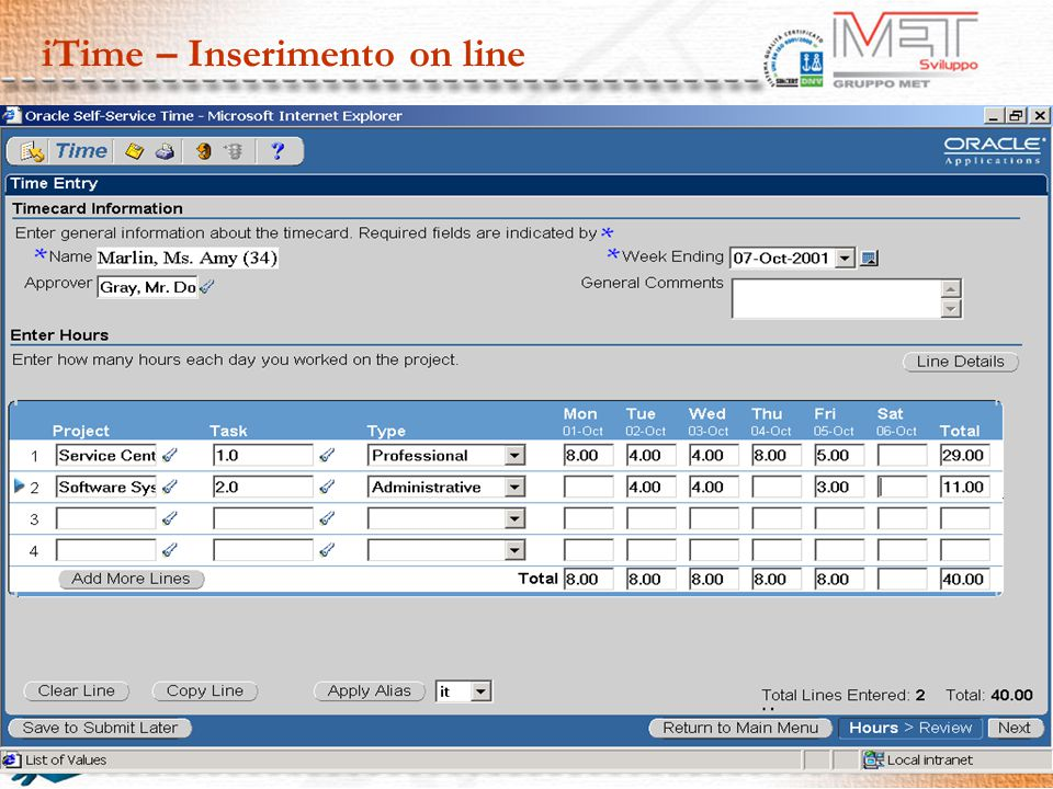 iTime – Inserimento on line