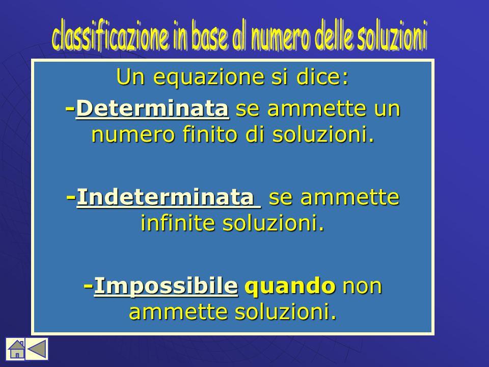classificazione in base al numero delle soluzioni