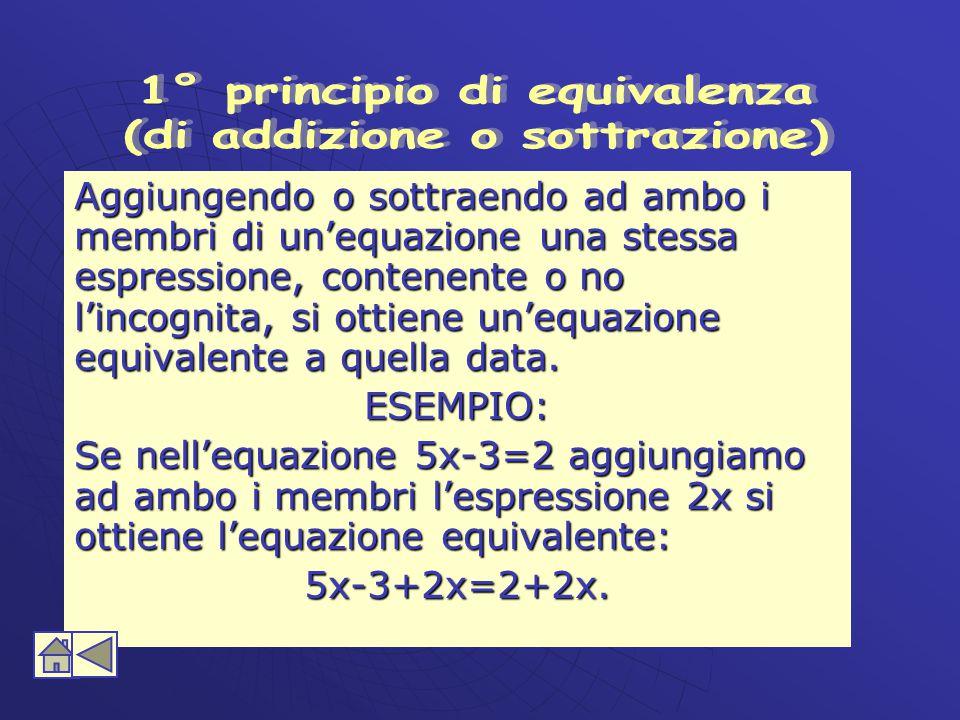 1° principio di equivalenza (di addizione o sottrazione)