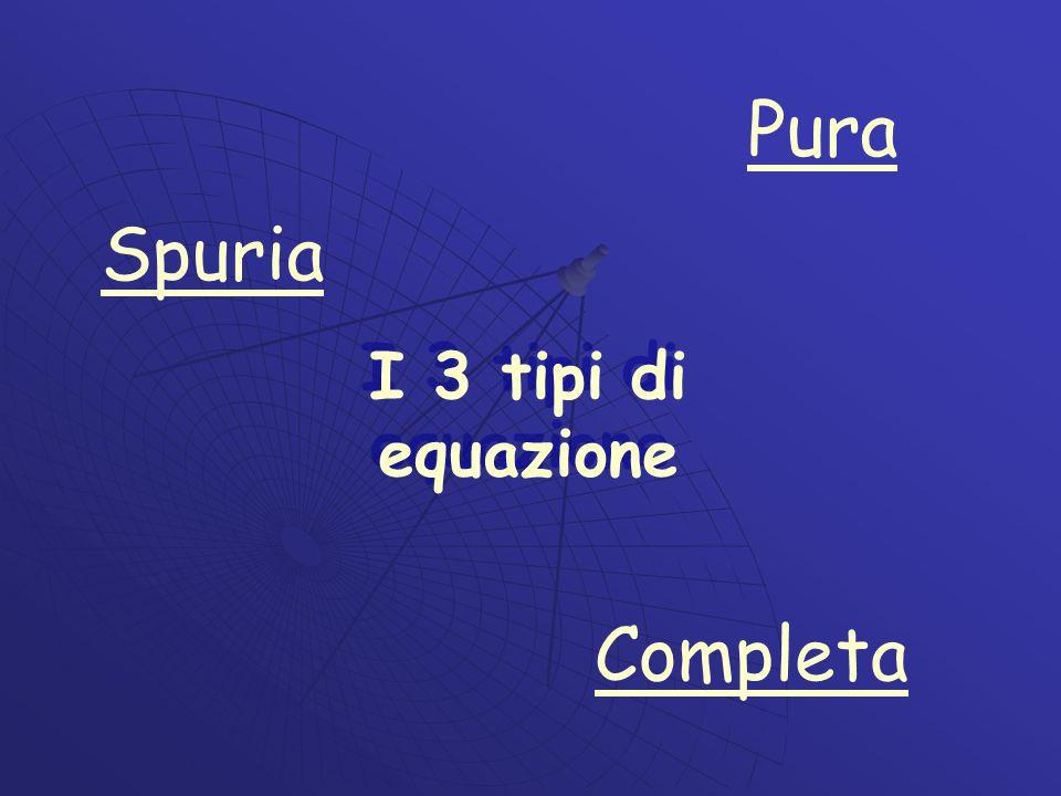 Pura Spuria I 3 tipi di equazione Completa