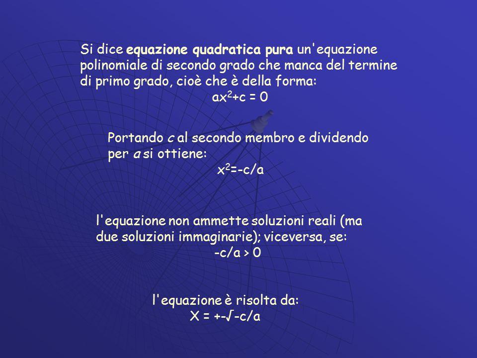l equazione è risolta da: