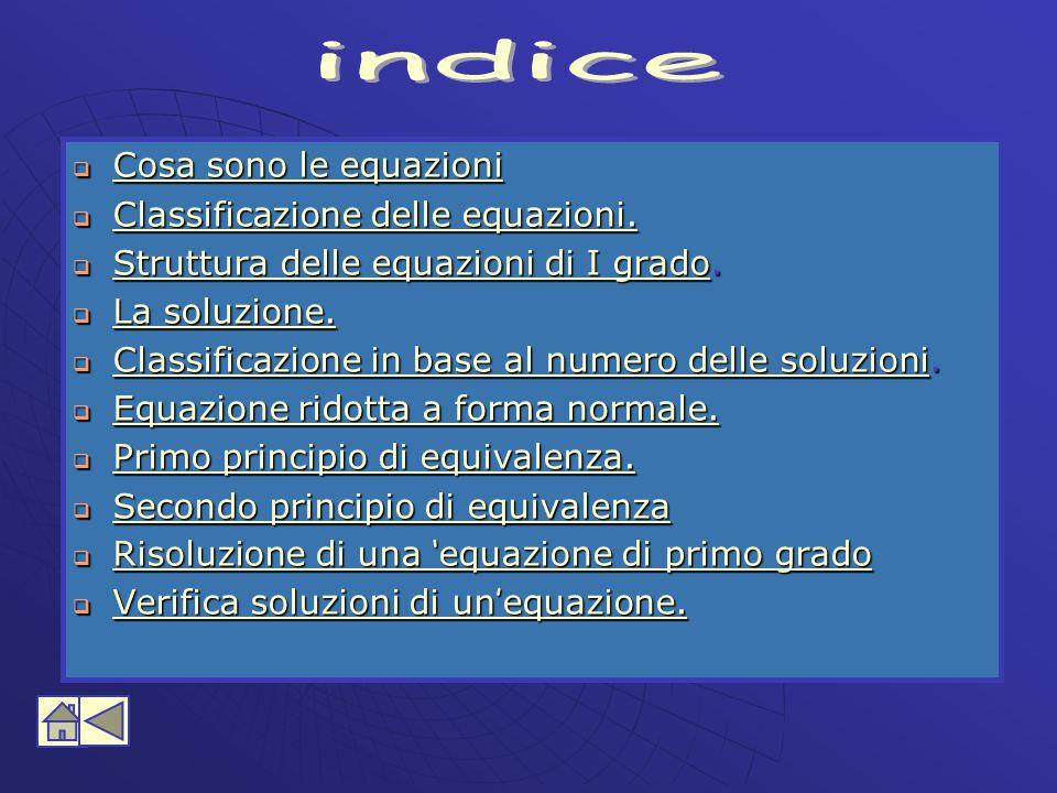 indice Cosa sono le equazioni Classificazione delle equazioni.