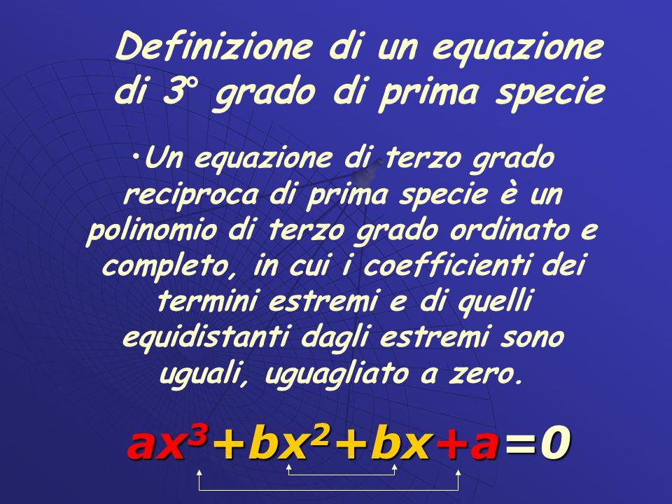 Definizione di un equazione di 3° grado di prima specie
