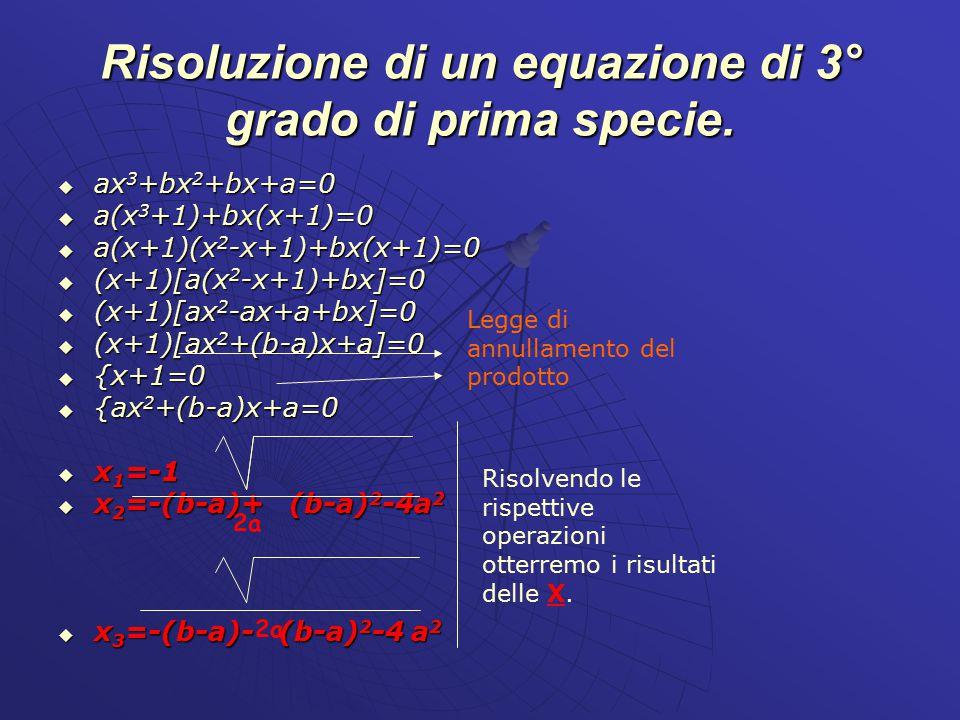Risoluzione di un equazione di 3° grado di prima specie.