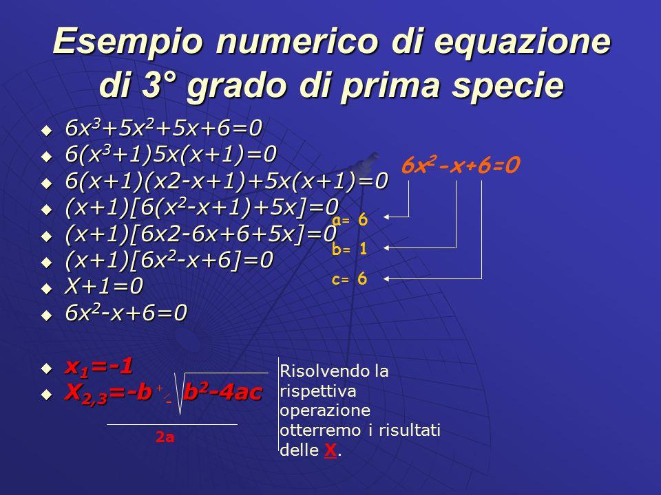 Esempio numerico di equazione di 3° grado di prima specie