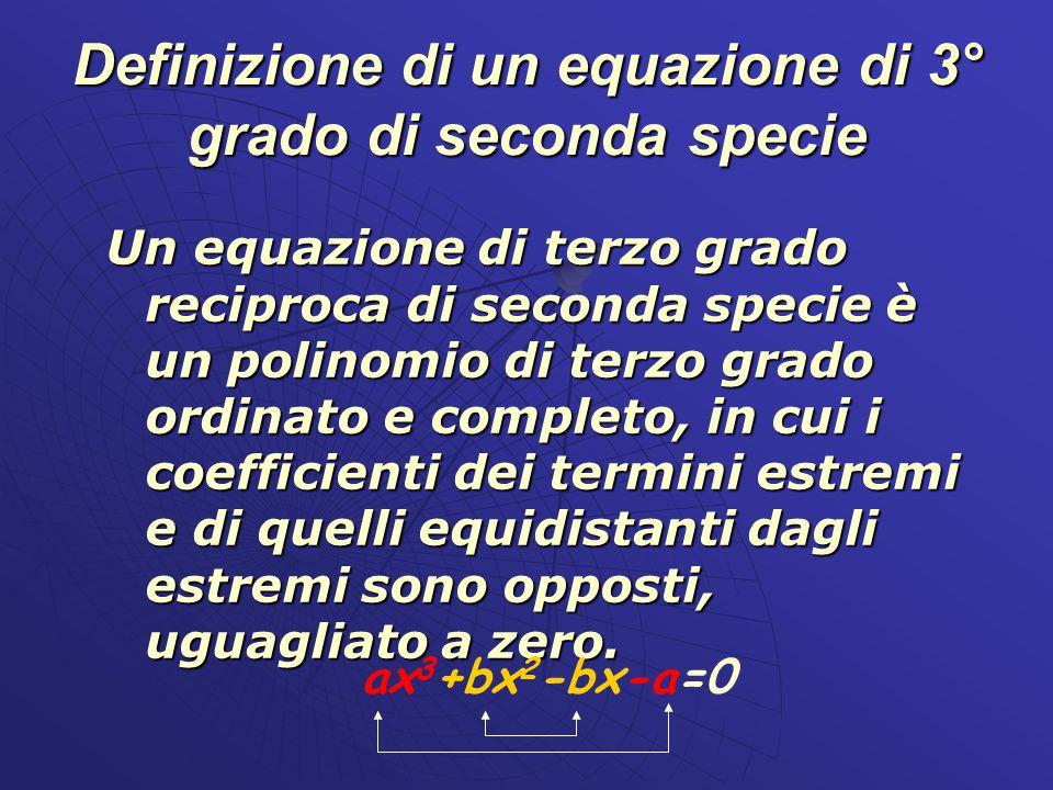 Definizione di un equazione di 3° grado di seconda specie