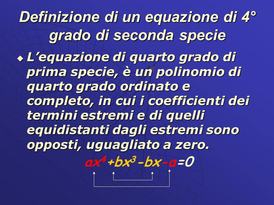 Definizione di un equazione di 4° grado di seconda specie