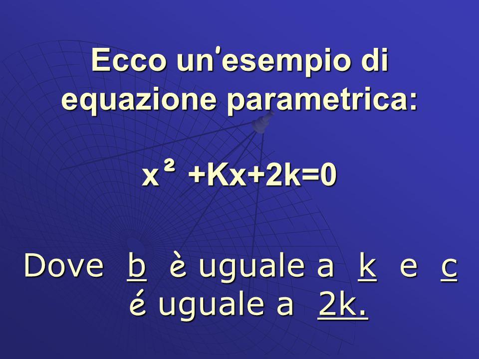 Ecco un'esempio di equazione parametrica: x² +Kx+2k=0