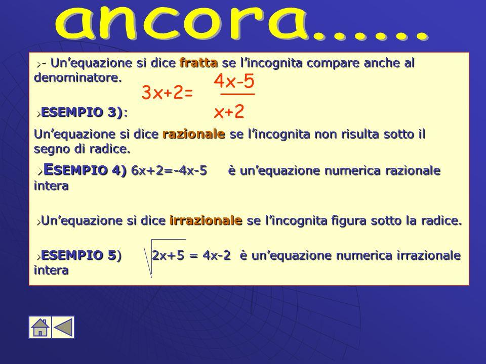 ancora...... - Un'equazione si dice fratta se l'incognita compare anche al denominatore. ESEMPIO 3):