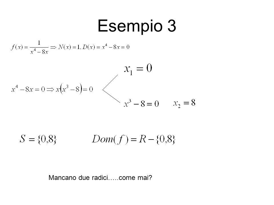 Esempio 3 Mancano due radici…..come mai