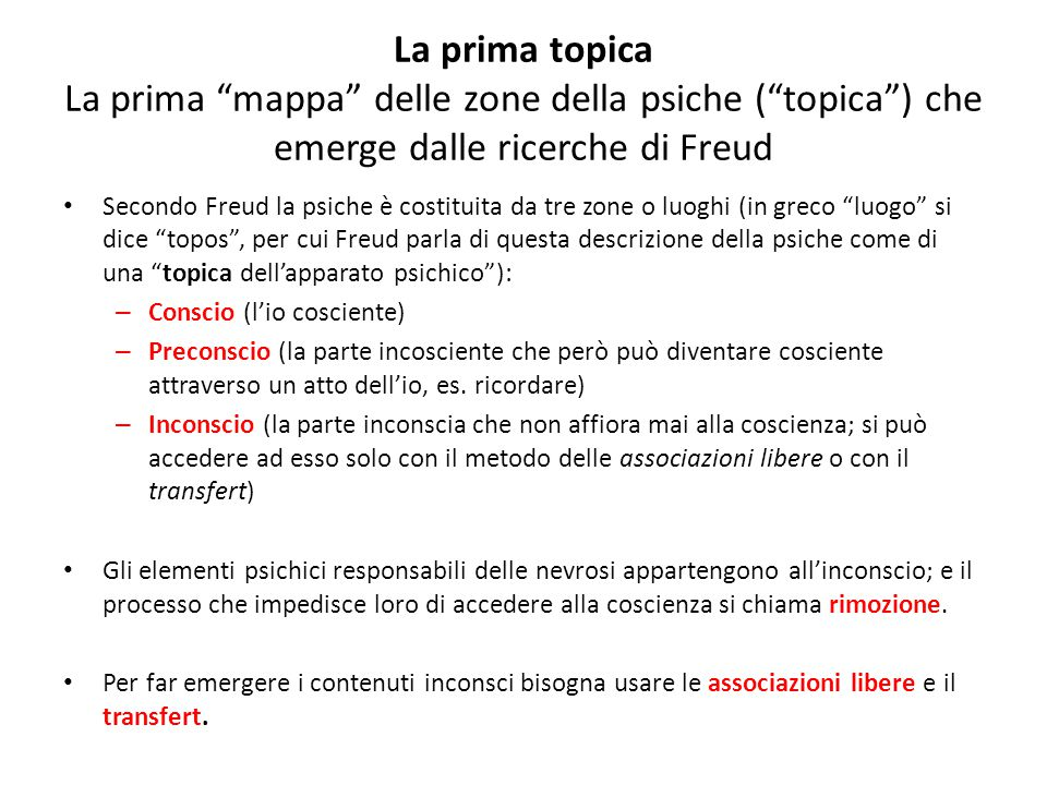 La prima topica La prima mappa delle zone della psiche ( topica ) che emerge dalle ricerche di Freud