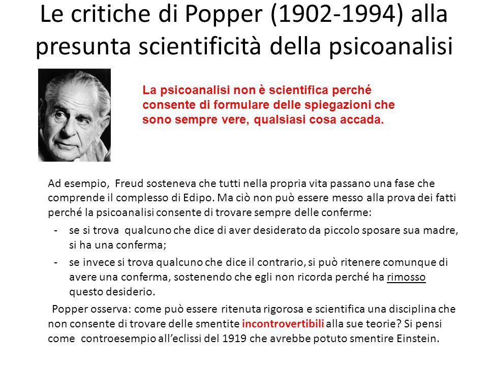 Le critiche di Popper (1902-1994) alla presunta scientificità della psicoanalisi