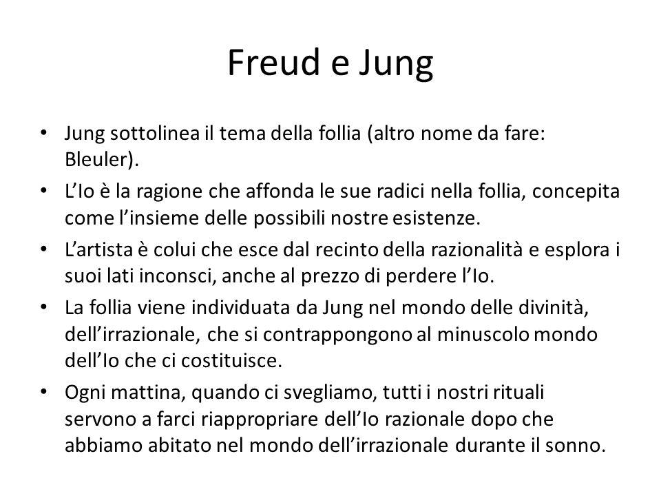 Freud e Jung Jung sottolinea il tema della follia (altro nome da fare: Bleuler).