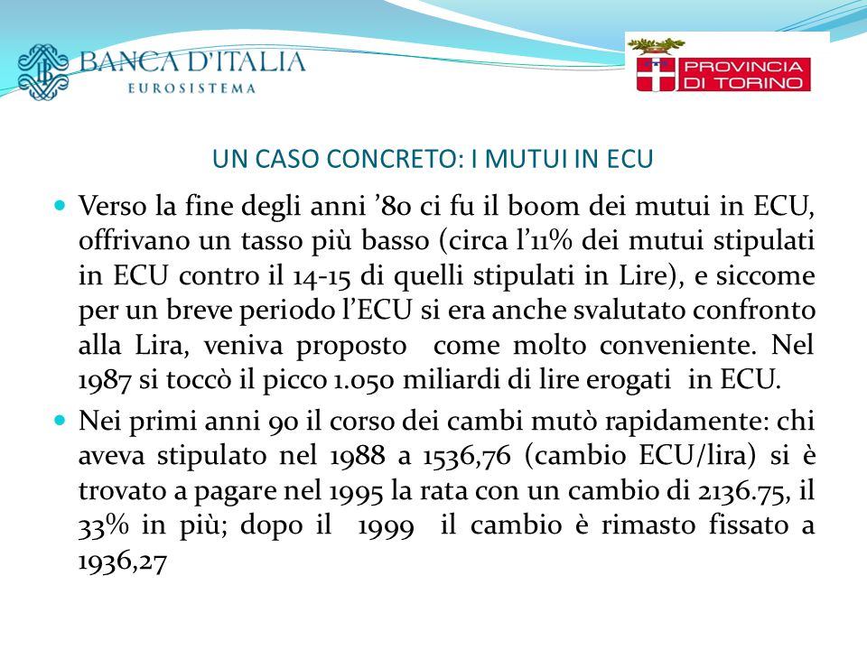 UN CASO CONCRETO: I MUTUI IN ECU