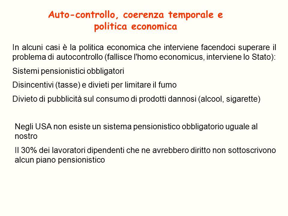 Auto-controllo, coerenza temporale e politica economica