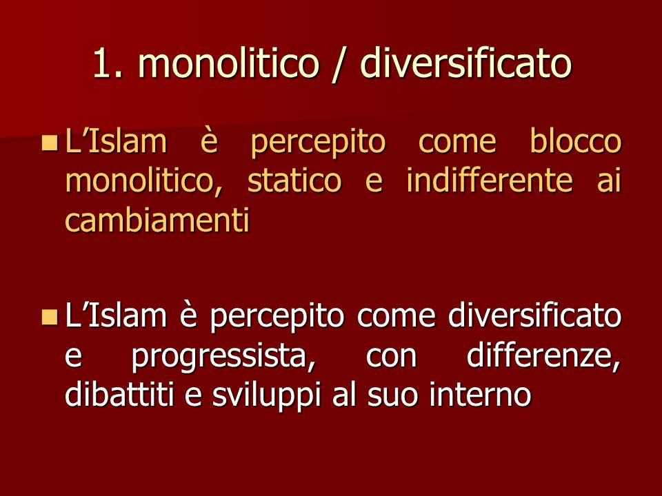 1. monolitico / diversificato