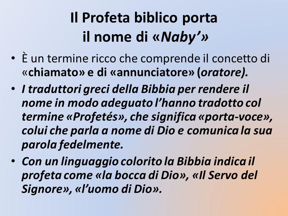 Il Profeta biblico porta il nome di «Naby'»