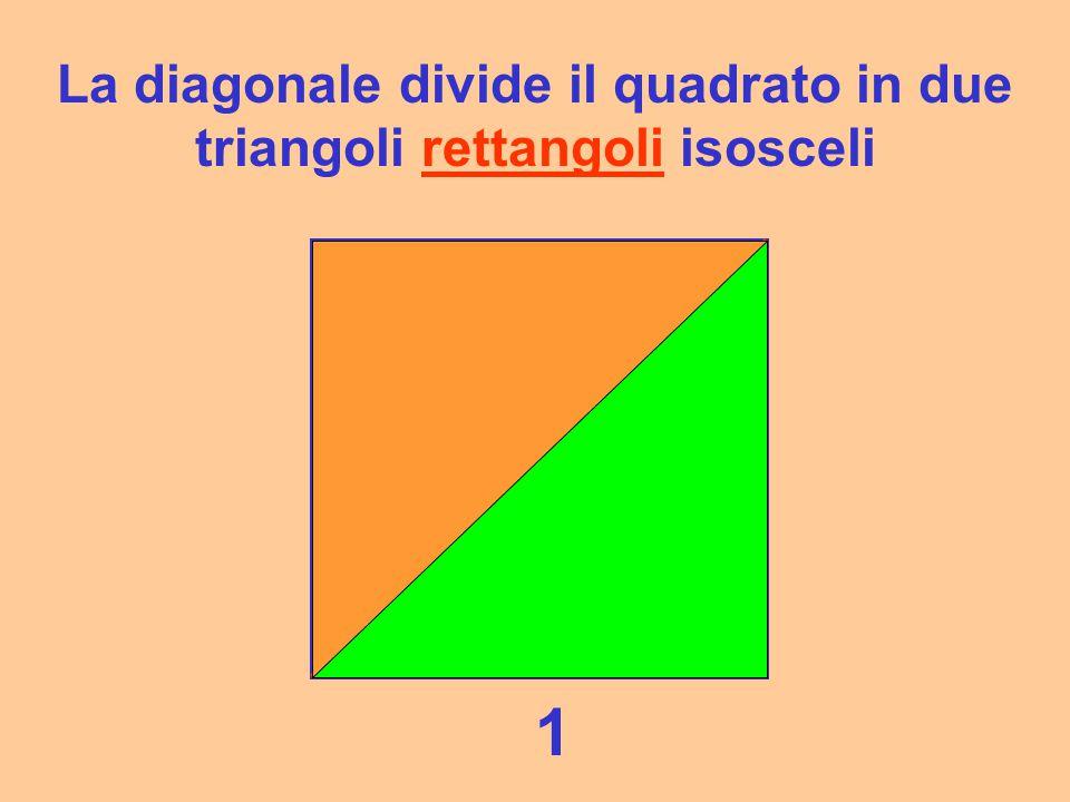 La diagonale divide il quadrato in due triangoli rettangoli isosceli