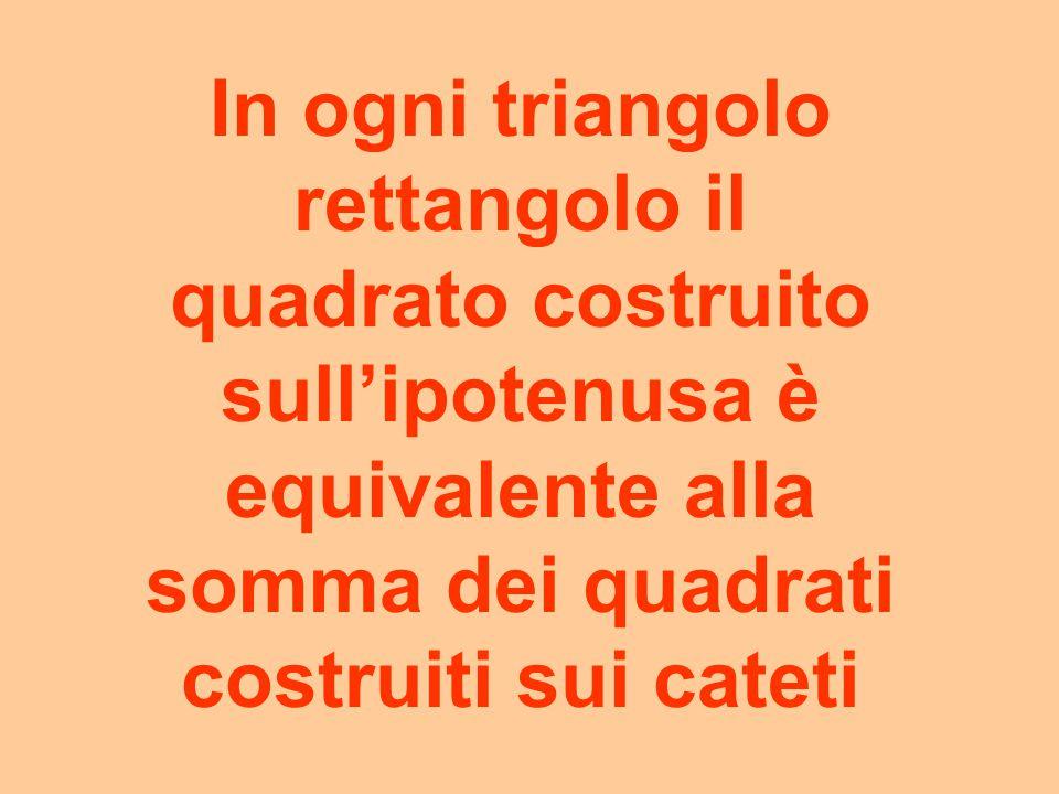 In ogni triangolo rettangolo il quadrato costruito sull'ipotenusa è equivalente alla somma dei quadrati costruiti sui cateti