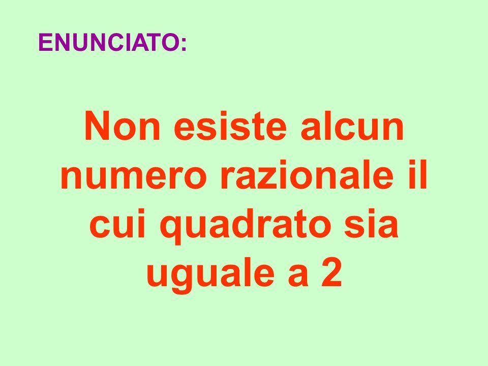 Non esiste alcun numero razionale il cui quadrato sia uguale a 2