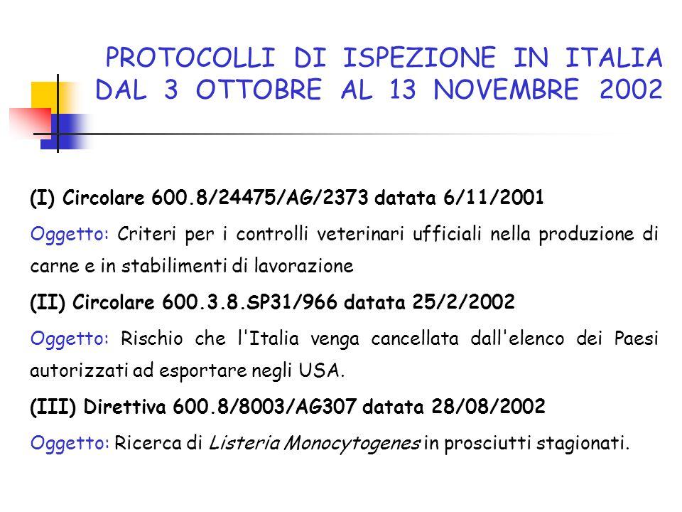 PROTOCOLLI DI ISPEZIONE IN ITALIA DAL 3 OTTOBRE AL 13 NOVEMBRE 2002